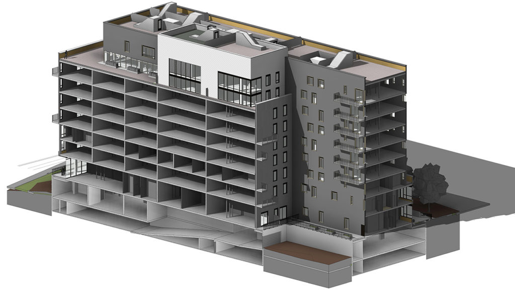 Example of a BNKC BIM project. BIM (Building Information Modeling) is a process that uses an intelligent 3D model to manage documents from an integrated team to coordinate a project throguh its entire lifecycle.