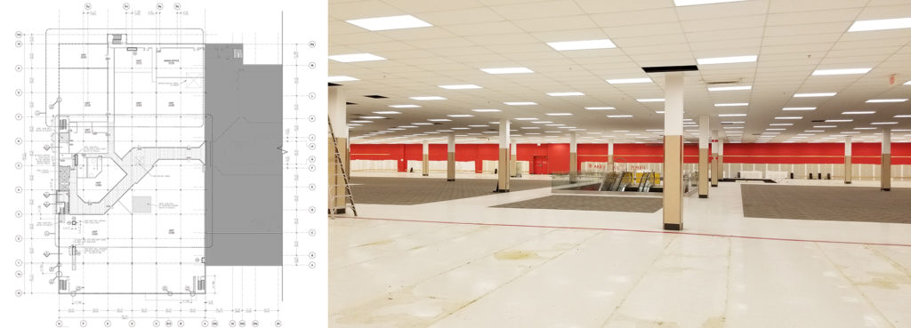Students will use CAD drawings to convert the various project spaces, including a former Sears and Target, into a single BIM model.